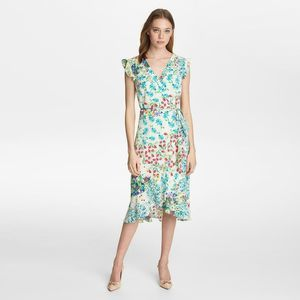 KARL LAGERFELD Floral Wrap Dress Ruffled Periwinkl
